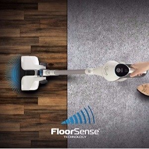 The Hoover React Cordless BH53210 utilizes FloorSense Technology to detect the difference in the vacuum vortex as it transitions from carpet to smooth floors making automatic adjustments for optimum cleaning