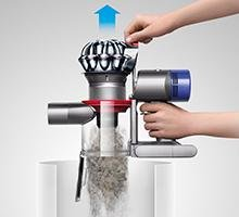 Dyson V8 Animal Cordless Stick Vacuum features hygienic dirt ejector