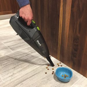 Shark Pet Perfect Cord Free Hand Vacuum LV801 easily whisks away spilled dry pet food or removes hair from furniture