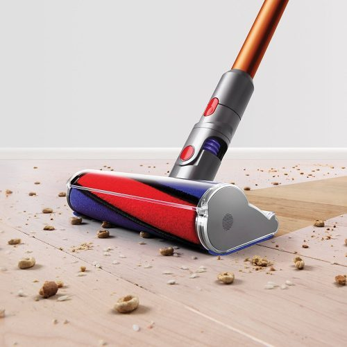 the Cyclone V10 Absolute stick vacuum features a soft floor brush that is designed to clean large debris from hardwood floors