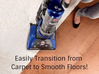 manual nozzle height adjustment and on off brushroll allow easy changing from carpet to smooth floors with the Hoover UH71250
