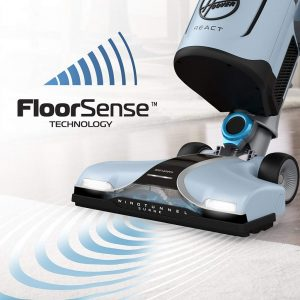 Hoover React QuickLift Bagless Upright Vacuum features floorsense technology