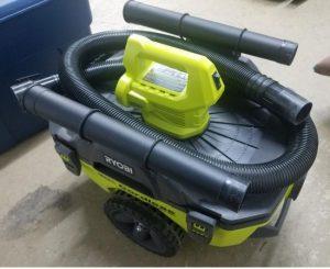 Ryobi 18 Volt ONE plus 6 Gallon Cordless Wet Dry Vacuum stores hose and accessories