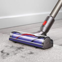 dyson v8 animal cordless vacuum cleans pet hair from carpet and hard floors