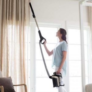 Shark ION P50 Lightweight Cordless Upright Vacuum IC162 lift away pod weighs only 5.42 pounds for easy overhead cleaning