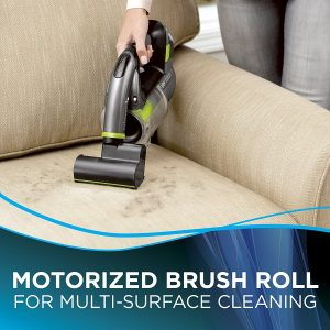 the Bissell Lightweight Cordless Hand Vacuum 1985 features a motor powered brush roll for cleaning stairs and upholstery