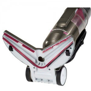 Bottom view of floor nozzle provides balanced suction for excellent edge cleaning