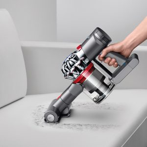 the Dyson V7 Trigger Cord Free Hand Vacuum is equipped with a motorized mini brush