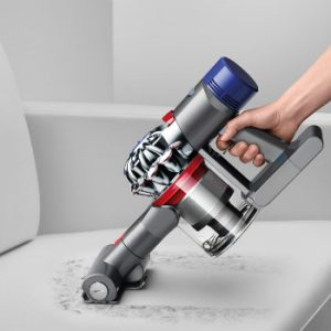 the Dyson V8 Absolute Stick easily converts to a battery powered hand vacuum for cleaning stairs