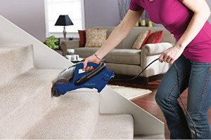 the Eureka EasyClean Corded Hand Held Vacuum 71C cleans the horizontal and vertical surfaces of stairs easily