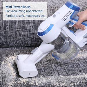 the Tineco A10 Hero Cordless Vacuum Cleaner includes a mini power brush that works very well on carpeted stairs or upholstery