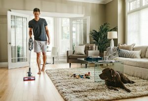 Shark Rocket Complete with DuoClean HV382 cleans hardwood floors and carpet with pet hair