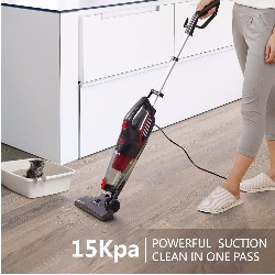 Powerful suction enables the Dibea 600W Lightweight Corded Stick Vacuum to clean with one pass
