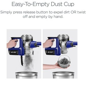 Eureka NEC122A Powerplush Cordless stick features a two way easy empty dust cup