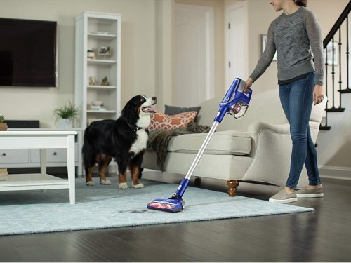 Hoover Impulse Cordless Stick Vacuum BH53020 removes pet hair from area rugs and hardwood floors