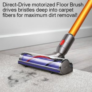 Dyson V8 Absolute Cord Free Vacuum utilizes direct drive motorized floor brush