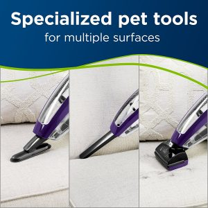 the BISSELL Pet Hair Eraser Lithium Ion Cordless Hand Vacuum 2390A comes with specialized tools for pet hair
