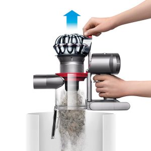 the Dyson V7 Trigger Cord Free Handheld Vacuum features a unique hygienic dirt emptying system that eliminates having to touch the dirt with your fingers