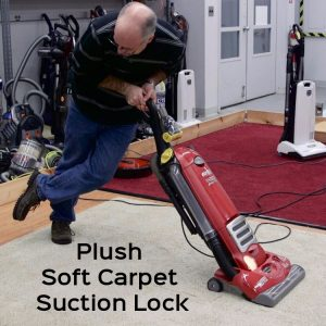 long dense fibers found on plush soft carpet causes vacuum cleaner suction lock