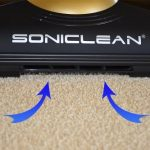 air channels in front of Soniclean SFC-7000 Soft Carpet Vacuum maintain constant air flow for consistent suction