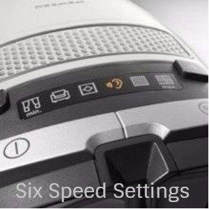 the 1200 watt Vortex motor has 6 speed settings for optimum performance on a variety of floor surfaces