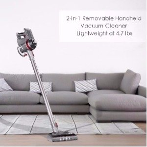 The Deik Vacuum Cleaner 2 in 1 Cordless is versatile for cleaning smooth and carpeted floors and can be used as a hand held vacuum