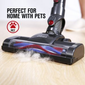 The Dibea C17 Cordless 2 in 1 Lightweight Cordless Stick Vacuum performs well on carpet and hard floors for removing cat and dog hair