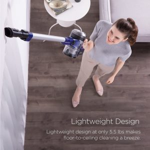 the Eureka NEC122A Powerplush Cordless stick weighs only 5.5 lbs for easy one handed overhead cleaning