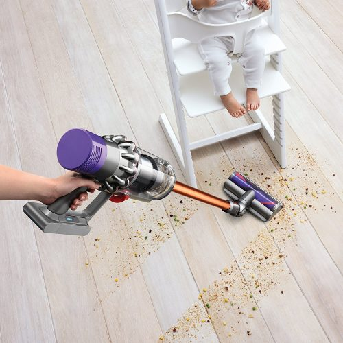 the dyson cyclone v10 features powerful suction for cleaning dirt from cracks in hardwood floors