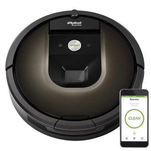 the iRobot Roomba 980 Robot hardwood floor Vacuum is wifi connected for smartphone monitoring and management