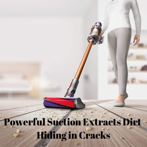 Dyson Cyclone V10 Absolute Cordless Stick Vacuum has the power to clean dirt from cracks in wood floors