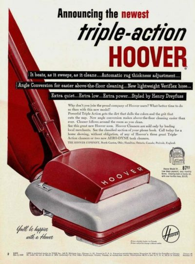 hoover model 29 vacuum cleaner debuted 1950 for less than one hundred dollars