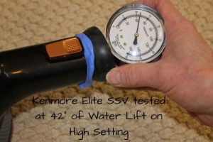 Kenmore Elite SSV tested at 42 inches of water lift on high setting